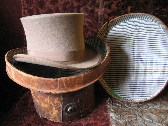 Vintage Top Hat with Leather Top Hat Box