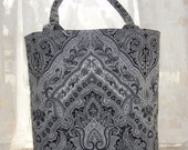 Tote Bag Purse Black , Gray &  White