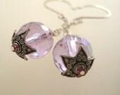 Purple Pink Festive and Fun Glass & Sterling Silver Earrings