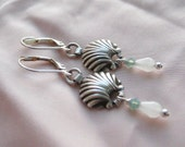 Elegant Earrings Vintage Sterling Silver Shell and Crystal Delicate Dangle