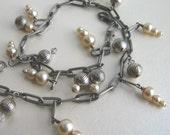Handmade Bracelet Vintage Faux Pearl and Pewter Large Linked Bracelet or Choker