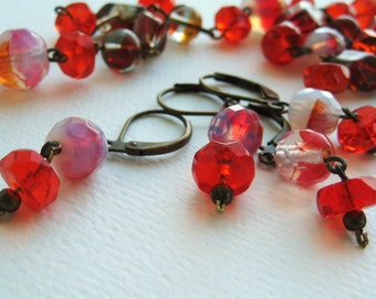 Romantic Red Vintage Petite  Beaded Earrings