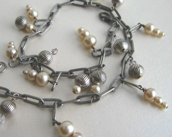 Handmade Bracelet Vintage Faux Pearl and Pewter Large Linked Bracelet or Choker