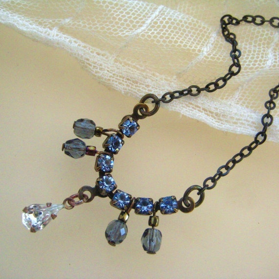 Romantic Vintage Glam Necklace Sparkling Blue Rhinestone and Crystal
