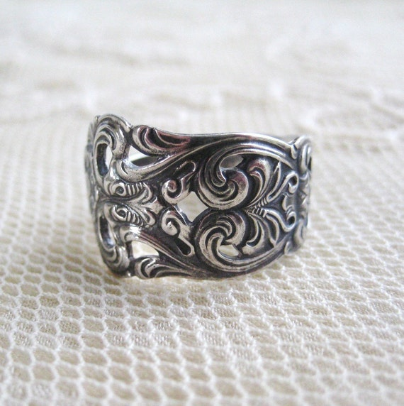 Antique Ornate Coin Silver Spoon Ring    Last One Size 8