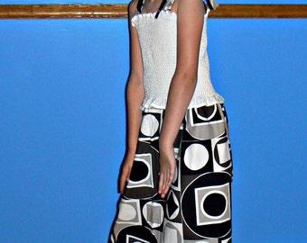 Smock Black and White Retro Sun Dress