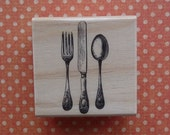 NEW Wood Mounted Rubber Stamp Vintage Fork Knife and Spoon