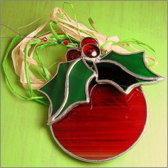 Free Postage Stained Glass Christmas Bulb Round 3 D Holiday