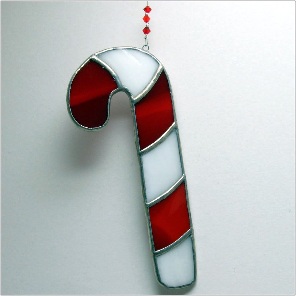 Choose one of five colors candy cane stained glass christmas