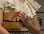 simple brown leather clutch pocket