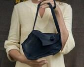 S A L E: black leather shoulder bag