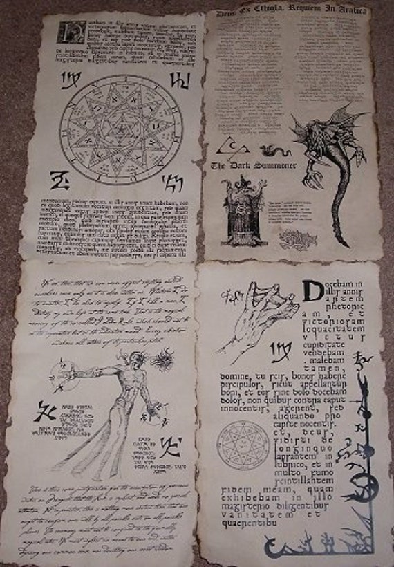necronomicon spellbook pages prop for cthulhu larp set no 8