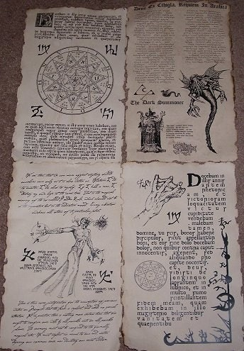 Necronomicon spellbook pages prop for cthulhu larp set no 8 for Portent item protection