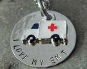 I love My EMT Ambulance Handstamped Necklace