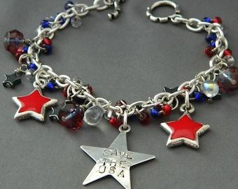 God Bless the USA Patriotic Charm Bracelet