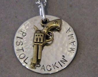 Bronze Pistol Packin Mama Handstamped Necklace