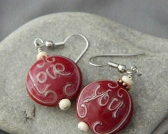Love You Lampwork Earrings