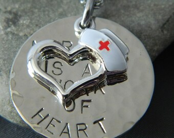 Nursing is a Work of Heart Handstamped Necklace