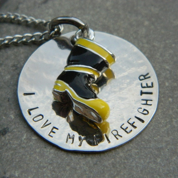 I love my Firefighter with Boot Necklace