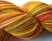 REDUCED Pumpkin Pie Hand painted Merino Sock Yarn