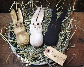 My Primitive TRIO OF BUNNIES Ornies instant Download pattern