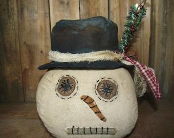 My Primitive SNOWMAN SITTER HEAD Instant Download