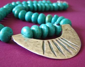 Turquoise and fine silver - Tutankhamen necklace