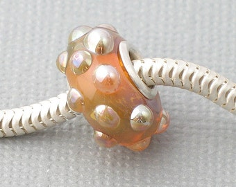 Golden Silver Cored Lampwork Bead