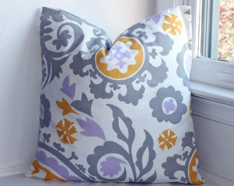 """Gray Yellow Pillow Cover, Suzani Pillow Cover, """"18x18""""  Modern Lilac"""
