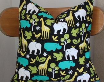 Zoo Animals Pillow Cover, 18x18 Nursery Animal Pillow