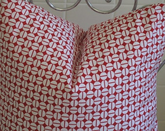 Decorative Red Pillow Cover, Modern Art Deco Pillow,  Red 18x18 Throw Pillow, Cushion Cover
