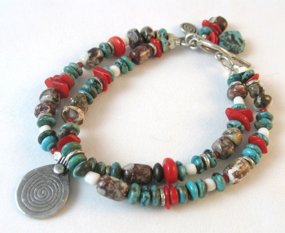 Turquoise Bracelet with Coral, Wild Horse Magnesite and Spiral Charm - Journey