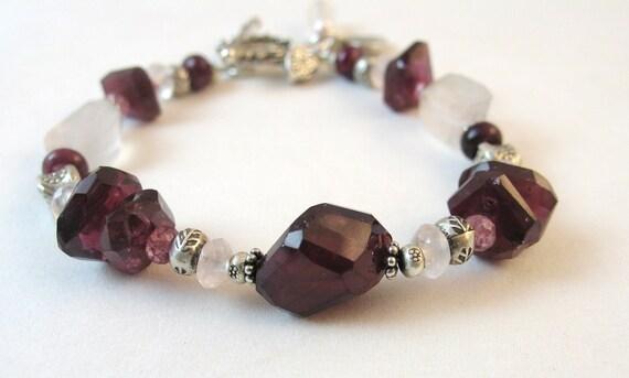 SALE! 10% OFF - Pink Tourmaline Bracelet, Rose Quartz Bracelet, Handmade Artisan Jewelry