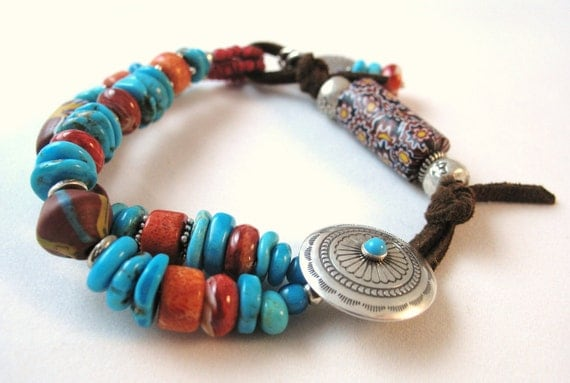 Turquoise, Trade Beads, Spiney Oyster and Coral Bracelet