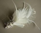 Wedding Fascinator, Bridal Fascinator, Feather Hair Comb, Ivory Feather Fascinator, Wedding Hair Accessory - DIANNA