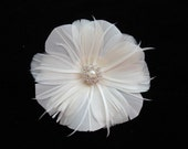 Bridal Fascinator, Fascinator, Feather Fascinator, Wedding Hair Accessory, Feather Flower, Ivory Feather Floral Hairclip - GRACE