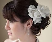 Bridal Hair Pin, Bridal Organza Flower, Wedding Headpiece, Wedding Hair Accessory, Bridal Fascinator - FLORESSA