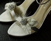 Bridal Shoe Clips, Shoe Clips, Feather