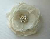 Bridal Flower Hairclip, Ivory and Gold Organza, Head Piece, Fascinator - LEAH