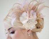 Bridal Fascinator, Fascinator, Ivory, Gold, Pink, Bridal Head PIece, Feather Head Piece, Feather Hairclip, Feather Flowers - CONSTANCE