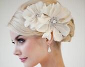 Bridal Head Piece, Bridal Fascinator, Wedding Hair Accessory, Bridal Flower Hairclip - Rhianna