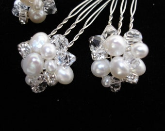 Bridal Hair Pins, Freshwater Pearl and Crystal Hair Pins, Wedding Hair Accessories