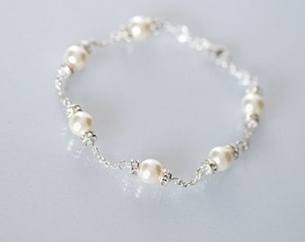 Bridal Bracelet, Freshwater Pearl Bracelet, Wedding Pearl Bracelet