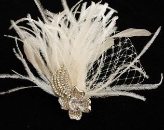 Bridal Fascinator, Wedding Headpiece, Feather Wedding Fascinator - JASALYN
