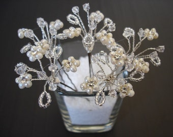 Bridal Hair Pins, Freshwater Pearl and Crystal Hair Pins, Set of Five