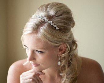 Bridal Headband,  Wedding Tiara, Freshwater Pearl and Crystal Headband, Wedding Hair Accessory - YVETTE