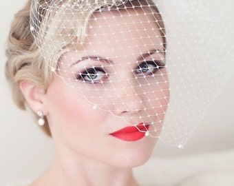 Bridal Birdcage Veil, Wedding Birdcage veil, Birdcage Veil Embellished with Swarovski Pearls, Bridal Veil, Wedding Veil