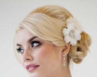 bridal silk flower hair clips wedding headpiece bridal fascinator
