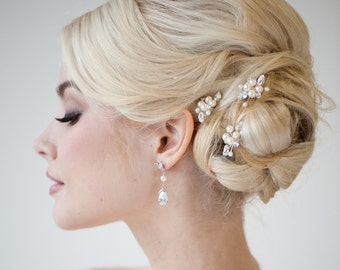 Bridal Hair Pins, Wedding Hair Pins, Swarovski Hair Pins, Pearl Hair Pins - DIANNE