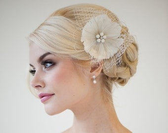 Feather Fascinator, Bridal Fascinator, Wedding Hair Flower, Bridal Headpiece - DANIELLE